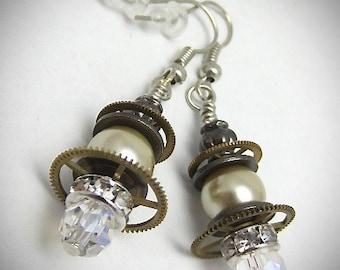 Steampunk ear gear - one of a kind - Steampunk Earrings - Repurposed art