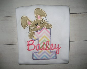 Baby Girls First Birthday Bunny bodysuit, easter birthday shirt, spring birthday shirt