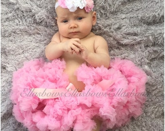 Baby Pink Pettiskirt and matching Over the top shabby and floral headband... Newborn Petti skirt ..Great for Newborn photos.....photography