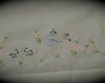 Vintage Crib Flat Sheet Hand Embroidered with Kittens Retro Baby Bedding Crib Linens