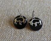 Buffalo Charm Earrings, Buffalo Earrings, Buffalo Jewelry, Penny Earrings, Copper Enamel Earrings, Buffalo, Buffalo Charms, Buffalo Earrings