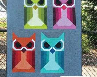 Allie Owl Quilt Pattern Whales Modern Quilt Pattern by Elizabeth Hartman