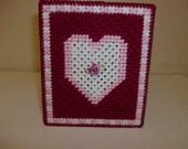 Victorian Heart Tissue Box Cover, Valentines Day Victorian Heart Tissue Box Cover, Needlepoint Heart Tissue Box Cover