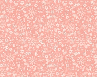 AdornIt - You & Me - Etched Blossoms in Coral  - Half Yard Cotton Fabric