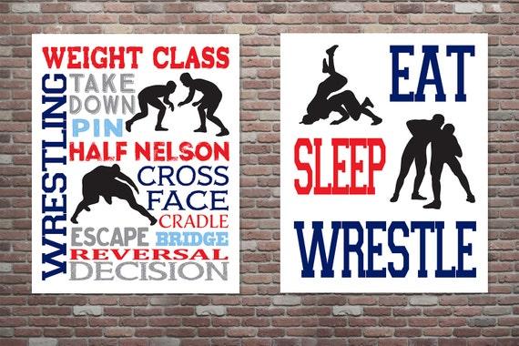 Wrestling Poster, Wrestling Typography Poster, SET, Wrestling Wall Art Print, INSTANT DOWNLOAD, Gifts for Wrestlers, Wrestling Wall Decor
