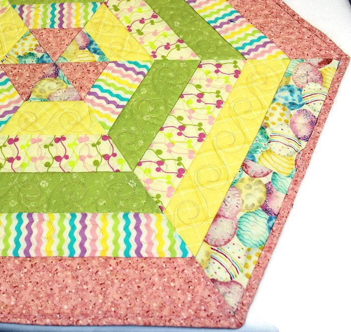 easter hexagon quilted table topper candle mat by. Black Bedroom Furniture Sets. Home Design Ideas