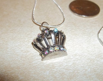 Silver CROWN Charm Necklace