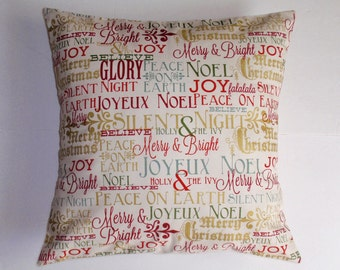 """CHRISTMAS Throw Pillow Cover, Postcards for Santa in Multicolor Pillow Cover, Inspirational Messages, Holiday Pillow Cover, 16x16"""" Square"""