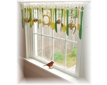 Green Tea and Honey Kitschy Kitchen Window Treatment Valance Curtain
