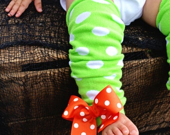 Green Polka Dot Leg Warmers with Orange Polka Dot Bows