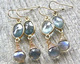 Summer Sale Moss Aquamarine and Labradorite Gold Earrings
