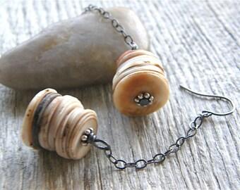 Ostrich Egg Shell Earrings, Rustic Sterling Silver Dangle Earrings