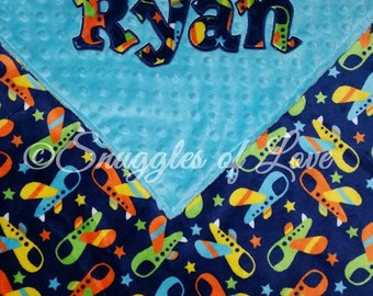 Boys Airplane Blanket - Personalized Baby Blanket - Aviator Blanket - Plane Blanket - Flying Blanket - Minky Baby Blanket - Double Minky