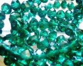 6mm Teal Crystal Rondelles,Faceted Crystal 8 Beads