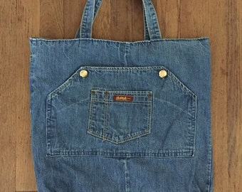 vintage 1970s HUGE DENIM pocket tote bag
