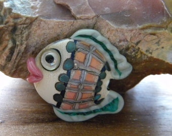 SALE Fish Lampwork Bead Teal, Coral, Off White, Green Big Pink Lips Horizontal Holes Ceramic Look Artist Zdenka Charvatova