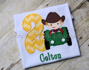 Custom tractor birthday shirt. Cowboy on tractor. Sizes 12m to youth medium. Other sizes and fabrics available.