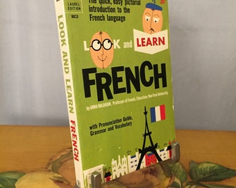 French Book Dell Paperback 1962 Look and Learn French Language Vintage France
