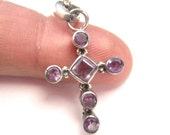 Amethyst Cross Pendant Purple Gemstone Sterling Silver Christian February Birthstone