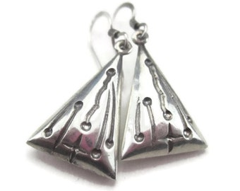 Triangle Earrings in Sterling Silver Abstract Design Vintage Earings for Pierced Ears
