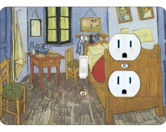 The Bedroom Van Gogh Painting Toggle Switch and Duplex Outlet Double Plate Cover