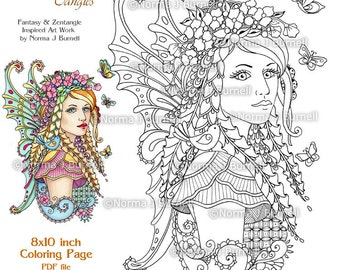 Guardian Of The Meadow Fairy Tangles Printable Coloring Pages By Norma J Burnell Fairies To Color