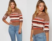 SALE Vintage 70s SPACE DYE Sweater Striped Sweater Fitted Sweater V-Neck Knit Crop Pullover Jumper