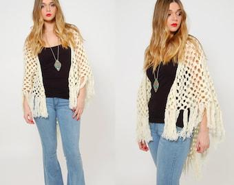 Vintage 70s KNIT Shawl Cream Crochet FRINGE Shawl Hippie Cape Boho Knit Wrap