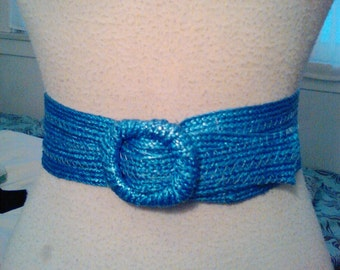 40s 50s ROYAL BLUE Raffia Cinch Belt