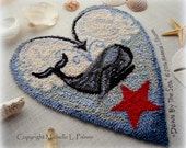 Whale Down by the Sea Punch Needle Embroidery DIGITAL Jpeg and PDF PATTERN Michelle Palmer