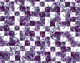 Liberty Tana Lawn Fabric Potter's Quilt B Half Yard SS16 Purple Geometric Pattern