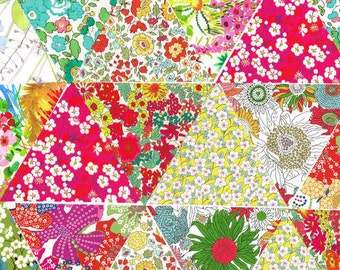 "30 Liberty Fabric Equilateral Triangles 4 5/8"" Sides Pretty Selection 1031"