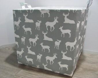 "XL Tall - Fabric Storage Basket - 12""x12""x12"" - Storage Bin - Laundry Basket - Toy Bucket - Organizer Bin - Baby Gift - Nursery Decor - Deer"