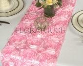 Pink Satin Ribbon Rosette Wedding Table Runner