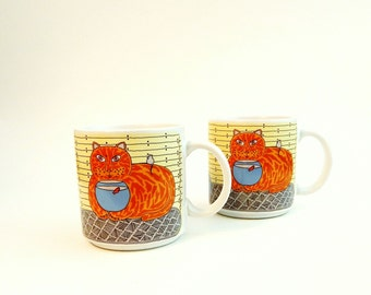 2 Taylor and Ng Kitty Katfish Catfish Orange Cat Classy Critters Vintage Mugs Signed