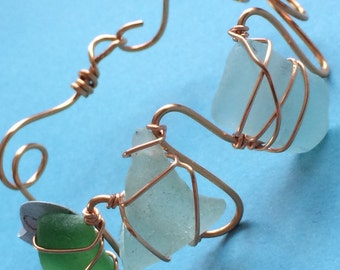 Green and Aqua Sea Glass Bracelet Wire Wrapped with Copper Wire Chesapeake Bay Eastern Shore Maryland Beach Glass Adjustable
