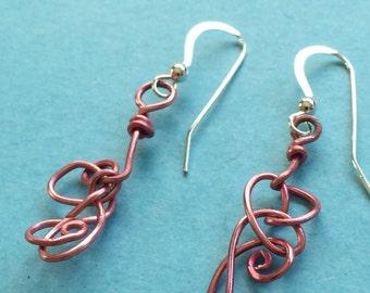 Handmade Pink Wire Squiggle Earrings Sterling Silver French Hooks Fun Funky Whimsical OOAK