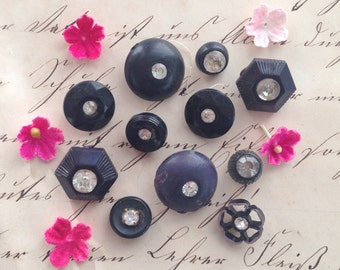 Black Tuxedo Shank Buttons # 2, Vintage Rhinestone Bling Buttons, Glitz and Glamour Notions, Sewing and Jewelry Making Supplies