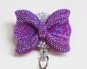 Purple Glittery Bow ID Badge Reel - ID Badge Holder - Badge Clip - Zipperedheart