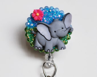 Sweet Elephant In Spring ID Badge Reel - Retractable ID Badge Holder - Zipperedheart