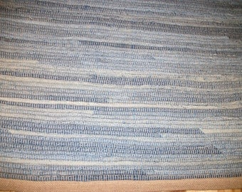 Upcycled Blue Jean Rug Runner 35 inches by 24 inches Rag Rug No Fringe Recycled Light Blue Blue Jean Rug