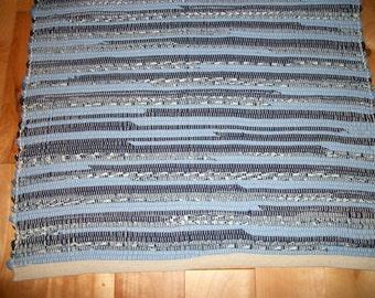 Rag Rug - Shades of Blue - 51 inches long - Rug with No Fringe - Recycled Fabrics - Upcycled Fabrics -  Loomed Rag Rug - Woven Rag Rug