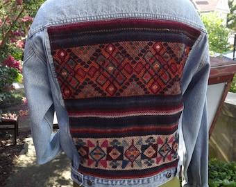 Vintage  BOHO Denim Jacket with Tribal Wool Weaving by Culture on Denim
