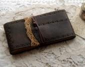 Landscapes of My Mind - Dark Brown Leather Sketchbook, Aged Recycled Paper, OOAK