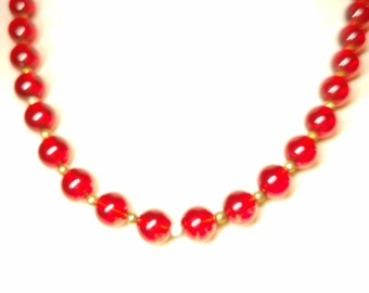 Red 18 Inch Lucite Vintage Necklace