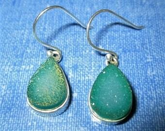 EARRINGS  - GREEN AGATE Druzy   - french hook - dangle - Sterling Silver - earrings385