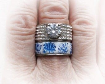 Portugal Antique Azulejo Tile Replica STAINLESS STeEL Ring Set - Stackable 1837 Delft Blue US size 7 3/4, UK P 1/2, size 17.97