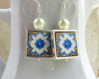 Portugal  Antique Azulejo Tile Replica 925 SILVER FRAMED Earrings from Cartaxo-Yellow and  BLUE (see facade photo) 720 Silver Framed