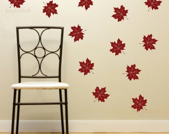 Leaf wall decal, maple leaf decals, vinyl wall decal, tree leaf decal, woodland fall decor, autumn leaf decals, october, Canadian leaf decal