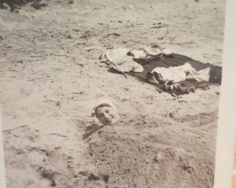 Vintage Photo 1920s Friends Playing at the Beach Boys Girls Beach having fun Buried in the Sand! americana history